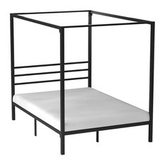 Modern Canopy Bed, Strong Metal Slats and Under Bed Storage Space, Black-Queen