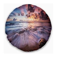 "Beautiful Sea Waves At Sunset Beach Photo Throw Pillow, 20"" Round"