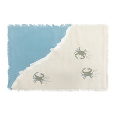 Embroidered Coastal Crab Linens, Set of 4