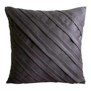 Contemporary Chocolate Brown, 35x35 Faux Suede Brown Throw Cushions Cover