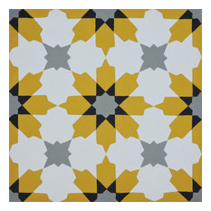 "8""x8"" Ahfir Handmade Cement Tile, Yellow ,Gray/Black , Set of 12"