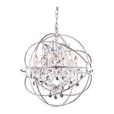 Foucaults Orb Polished Nickel Crystal Chandelier, Metal 6-Light Medium -  Chandeliers