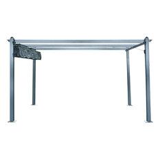 13'x10' Aluminum Pergola With Adjustable Canopy Cover, Dark Gray