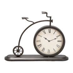 "Bicycle Shaped Black Metal Table Clock, 19""x14"""