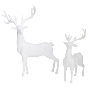 White Deer 2-Piece Set Ornaments