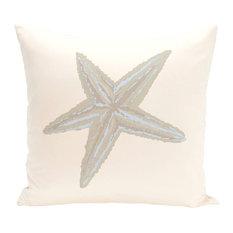 "E by Design - Sea Star Coastal Print Pillow, Oatmeal, 16""x16"" - Decorative Pillows"