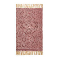 Annecy Hand Woven Printed Rug, 90x150 cm, Red