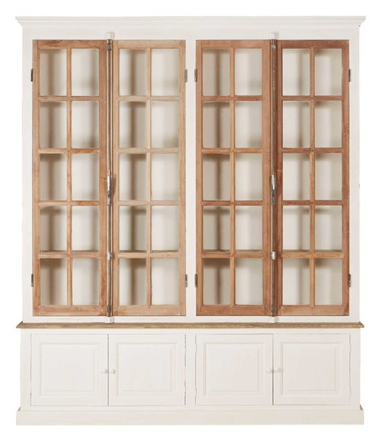 Portes Antique French Country 4 Door White Pine Cabinet Curio - Traditional - China Cabinets And ...
