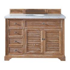 "Savannah 48"" Driftwood Single Vanity w/ 3cm Shadow Gray Quartz Top"