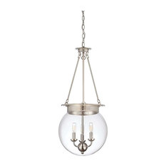 "Glass Orb Three Light 14"" Pendant Polished Nickel Clear Glass"