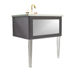 36-inch Bathroom Vanity Silver Mirror Insert Gray Cedar Lucite Legs