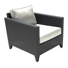 Lounge Chair with Cushions, Black, Sunbrella Peyton Granite