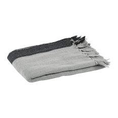 Woven Herringbone Fringed Throw, Grey and Black