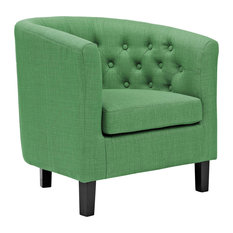 Upholstered Fabric Diamond-Tufted Armchair, Kelly Green
