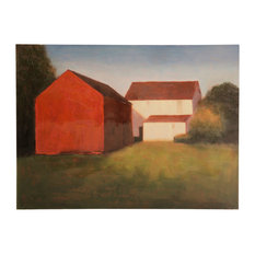 Red Farm House Art, Canvas Print with Handpainting