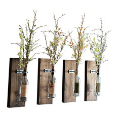 Wine Bottle Wall Vase, Walnut, Set of 4