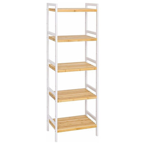 Bamboo Rack Storage With White Frame and Open Shelves, 5 Tier