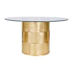 """Basket Weave Dining Table Base, Gold, Wth 48"""" Glass Top"""