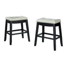 Wooden Counter Height Stool, Set Of 2, Cream And Black