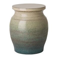 Velma Bazaar Round Green Glaze Ivory Garden Stool - 18H