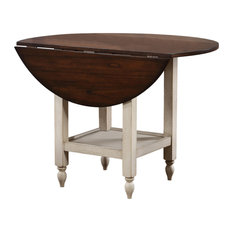 Sunset Trading Andrews Round Drop Leaf Dining Table With Shelf DLU-ADW4242S-AW