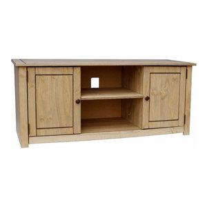 Traditional Sideboard, Natural Finished Solid Wood With 2-Door and 4-Drawer