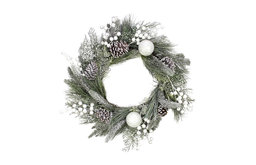 Frosted Artificial Mixed Pine and Pine Cone Wreath with White Berries and Balls