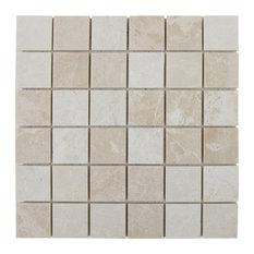 "Marble Mosaic Tile, 2""x2"", Polished Crema Marfil"