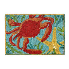 Sealegs Hand-Hooked 2'x3' Outdoor Rug, Multi