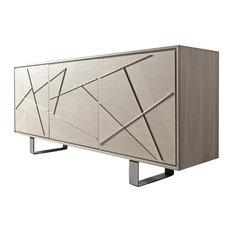 Aron Sideboard Walnut Veneered Frame Oak Veneered Doors Grey Walnut Finish