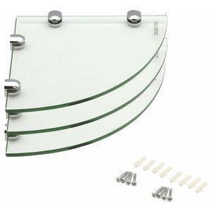 Modern Corner Storage Shelves in Tempered Glass, Pack of 3, Simple Design