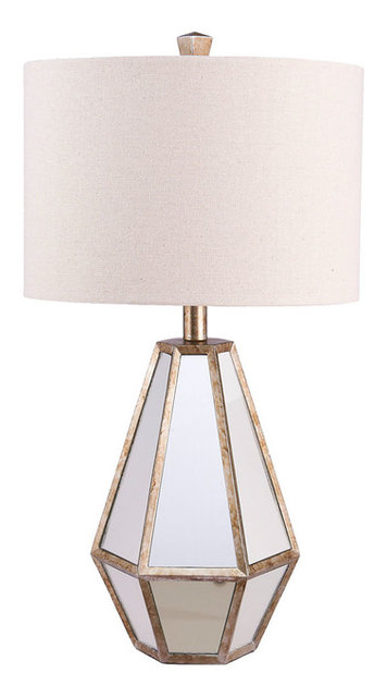 Attractive Maxine Faceted Mirror Table Lamp