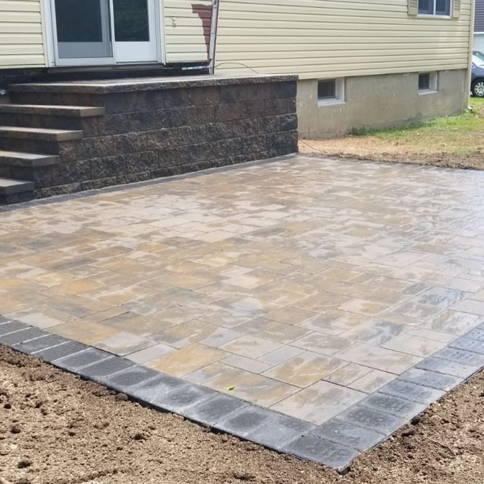 Backyard patio and steps using Cambridge paving stones!!