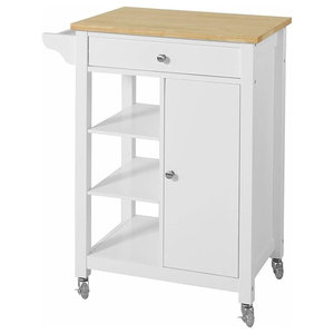 Modern Trolley Cart, MDF and Pine Wood With Chipboard Top and Drawer