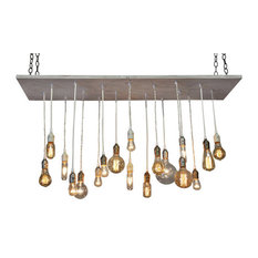 Whitewashed Rustic Wood Chandelier, Flush Toggle Mount, Incandescent Bulbs