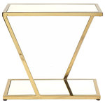 Worlds Away - Rectangular Side Table With Inset Mirror Top, Brass - Brass rectangular side table with inset mirror top