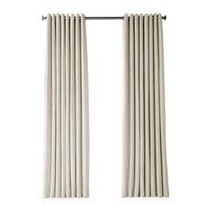 "Signature Extra Wide Grommet Blackout Velvet Curtain, Off White, 100""x108"""