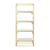 Gold Leaf Etagere With Lacquer Shelves, White