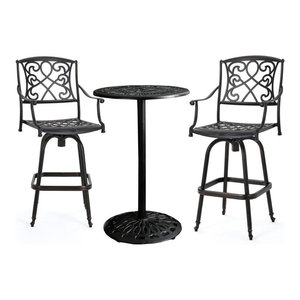 ce0c268e6c5 Flash Furniture Metal 3-Piece Bar Table Set in Green - Contemporary ...