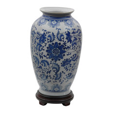"""14"""" Floral Blue and White Porcelain Tung Chi Vase"""