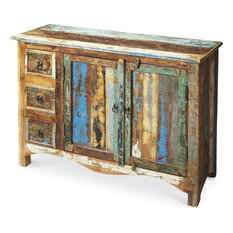 Sideboard Artifacts Black Acid Wash Distressed Assorted Old Collected