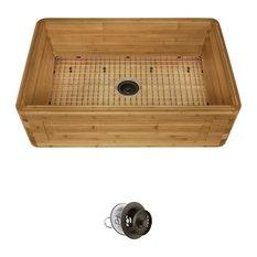 Bamboo Apron Kitchen Sink, 894, Mocha Strainer