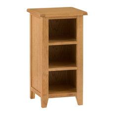 Rustic Small Narrow Bookcase, Oak