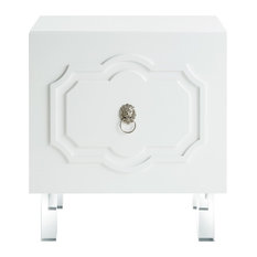 Veronica Lacquered Side Table With Chrome Handle, White