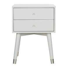Retro Nightstand Rubberwood With Accent Legs And 2 Drawers Grey/Silver