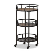 Rustic Industrial Style Metal And Wood Mobile Serving Cart