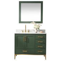 """Joy Bathroom Sink Vanity Set, White Marble Top, Green, 42"""""""
