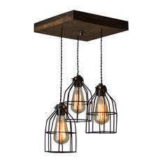 Wilde Pendant Light, Black Cages, 3 socket