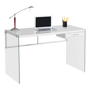 "Computer Desk, 48""L, Glossy White, Tempered Glass"