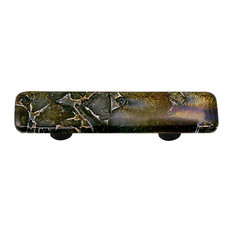 Art Glass Rectangle Fractured Pull, Alum Post, Fractures Black